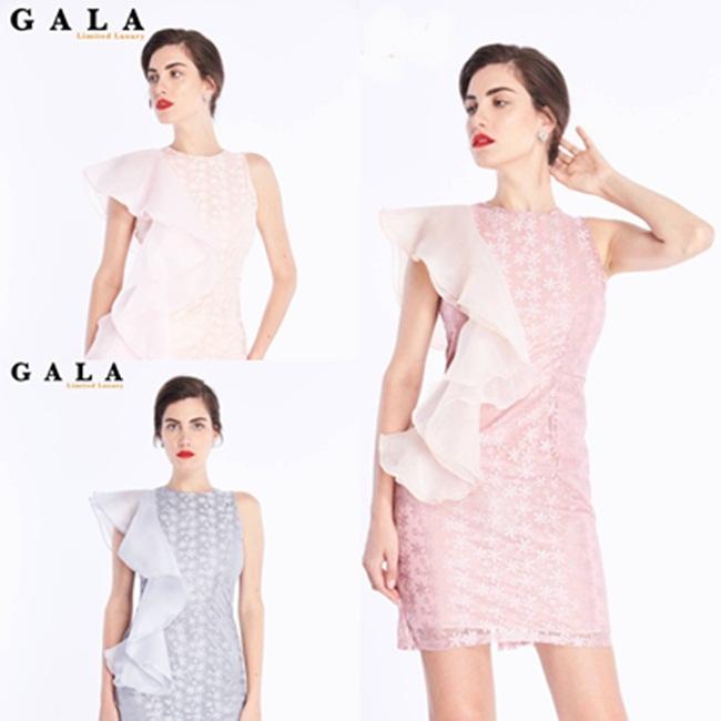 เดรสแฟชั่น Sheer Ruffle Lace Dress