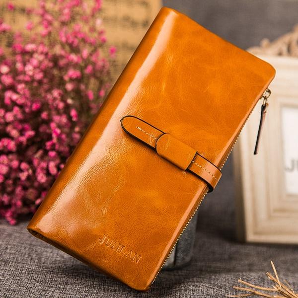 Pre-Order กระเป๋าสตางค์ผู้หญิง ใบยาว 3 พับถอดไส้ในออกได้ สีน้ำตาล หนังแท้ หนังวัว สไตล์เกาหลี JUNLAN