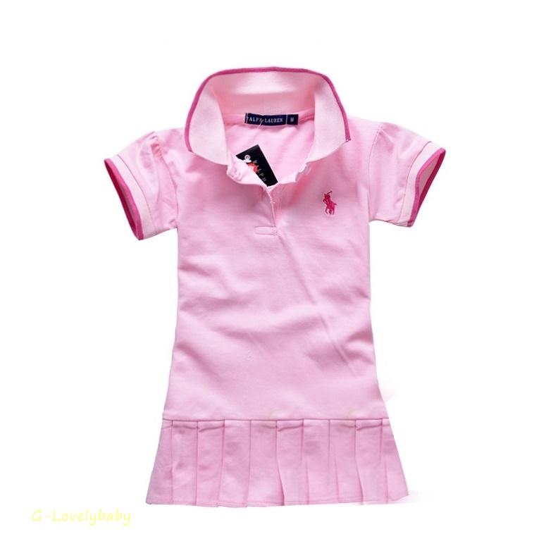 ชุดเดรสโปโล สีชมพู polo Sport Girl ผ้าลาครอสแขนสั้น อายุ 1-6 ขวบ