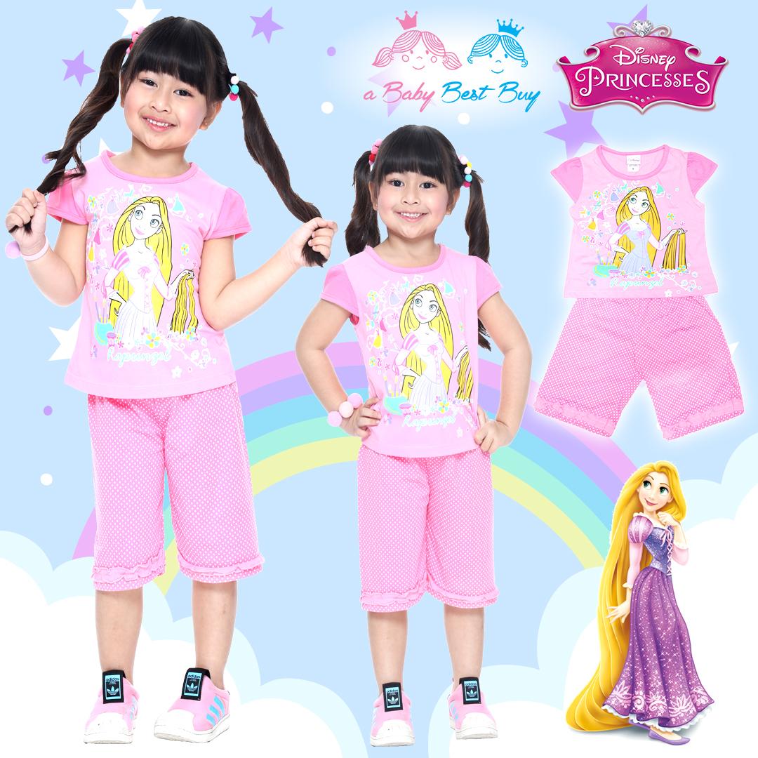 ( S-M-L ) ชุดเด็กน่ารัก ชุดนอนเด็ก Disney Rapuzel เสื้อแขนสั้น สีชมพู กางเกงขาสั้นสีชมพูสุดน่ารัก ดิสนีย์แท้ ลิขสิทธิ์แท้ (สำหรับเด็กอายุ 4-8 ปี)