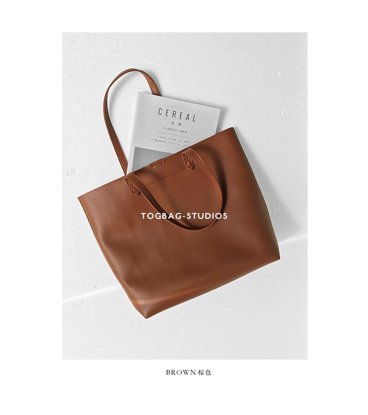 Pre-order กระเป๋าTote bagหนังสีน้ำตาล เทา กรม ดำ