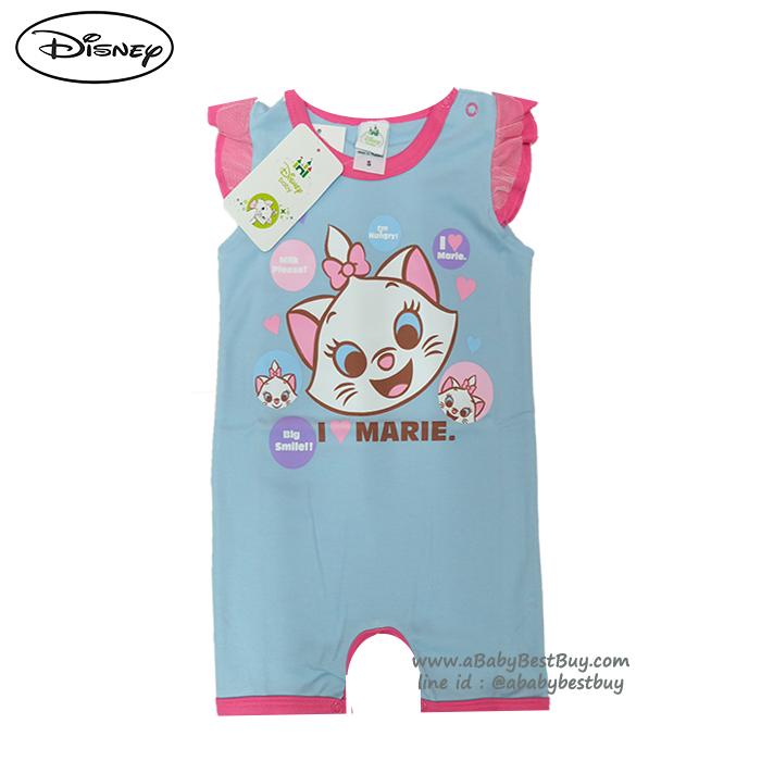 ( S-M-L ) ชุดนอนเด็ก บอดี้สูทเด็ก Disney Marie ชุดแขนสั้นสีฟ้า ดิสนีย์แท้ ลิขสิทธิ์แท้ (สำหรับเด็กอายุ 0-24 เดือน)
