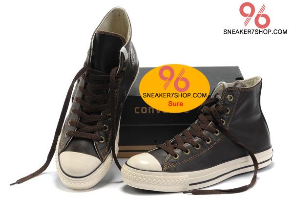 รองเท้า Converse All Star Overseas Edition หนังน้ำตาลปี 2011 หุ้มข้อ ตาไก่6เหลี่ยม ผู้ชาย ผู้หญิง Shoes Size 37-44 พร้อมกล่อง