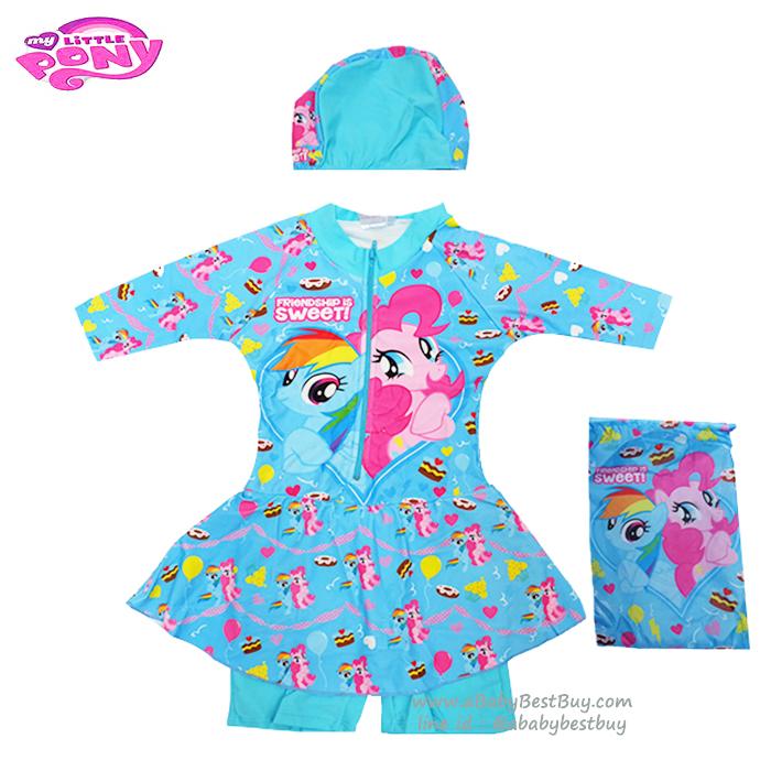 (สำหรับเด็กอายุ 6เดือน-14 ปี) Swimsuit for Girls ชุดว่ายน้ำ เด็กผู้หญิง My Little Pony ชุดว่ายน้ำ ม้าโพนี่ บอดี้สูท เสื้อแขนยาวกระโปรงกางเกง สีฟ้า มาพร้อมหมวกว่ายน้ำและถุงผ้า สุดน่ารัก ใส่สบาย ลิขสิทธิ์ฮาสโบแท้ โพนี่แท้