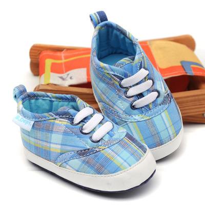Pre-walker Baby Shoes รองเท้าเด็ก รองเท้าเด็กวัยหัดเดิน ลายสก๊อตสีฟ้า พร้อมส่ง