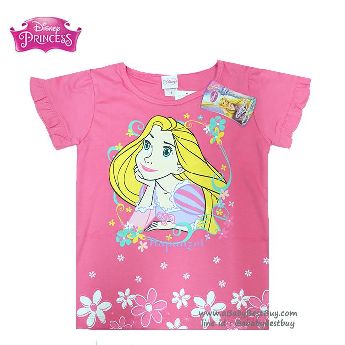 (Size 4-6-8)เสื้อยืดเด็กผู้หญิง แขนสั้น สีชมพูเข้ม สกรีนลาย Disney Rapuzel สุดน่ารัก ผ้าดีใส่สบาย ดิสนีย์แท้ ลิขสิทธิ์แท้ (สำหรับเด็กอายุ 4-8 ปี)