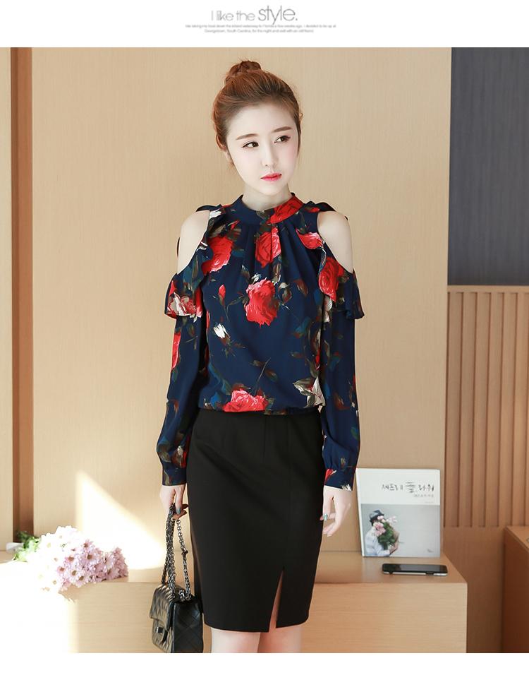 KTFN เสื้อแฟชั่นเกาหลี เว้าไหล่ตัดต่อระบาย ลายดอก สีกรม