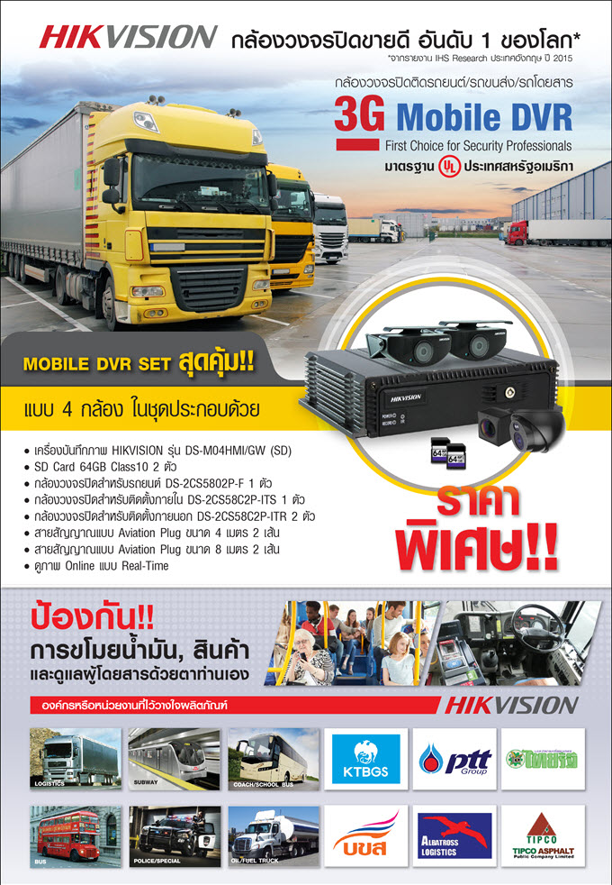 Hikvision Mobile DVR Set สำหรับรถขนส่ง,รถโดยสาร