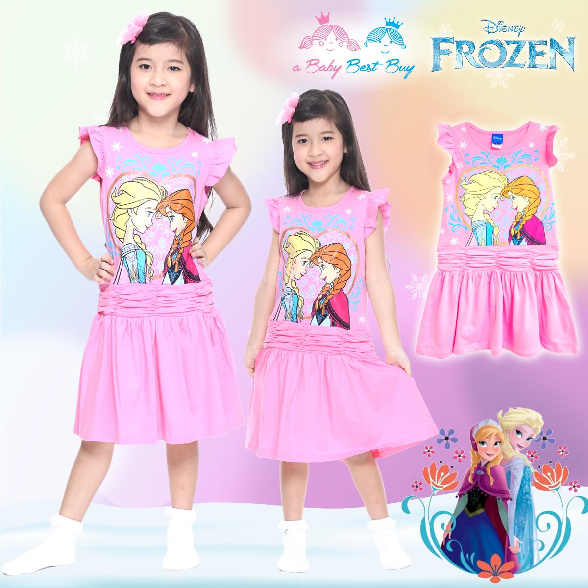 ' (Size 4-6-8-10) ชุดเดรส Disney Frozen ชุดเดรสสีชมพู แขนกุด ลายเจ้าหญิงโฟรเซ่น ดิสนีย์แท้ ลิขสิทธิ์แท้