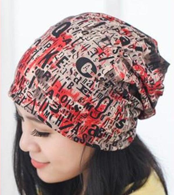 (Pre-order) หมวกไหมพรม หมวกคลุมผม แบบ 3 in 1 เป็นหมวกกันหนาว เป็นหมวกคลุมผม เป็นผ้าพันคอ ผ้าฝ้ายพิมพ์ลายกราฟฟิก สีโทนแดง