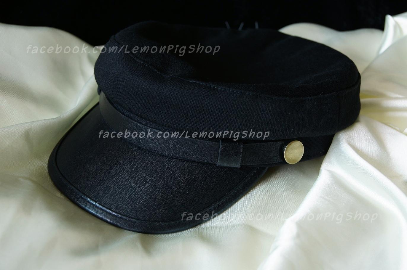 หมวกโกโบริ หมวกกัปตัน ผ้า ปีกหน้าหนัง สีดำ