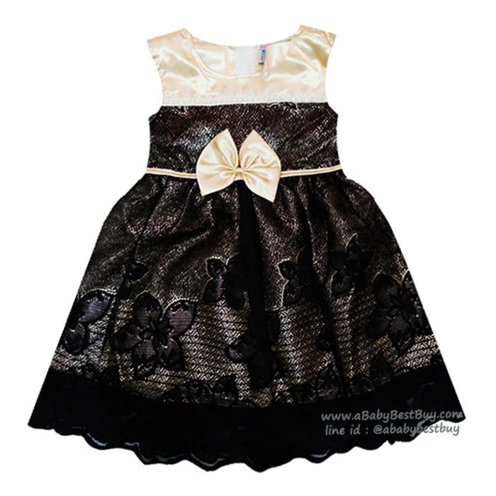 ( Size2-3-4)ชุดเดรสราตรีแขนกุดสีดำ เด็กผู้หญิง สุดน่ารัก ใส่สบาย (สำหรับเด็กอายุ 2-4 ปี)