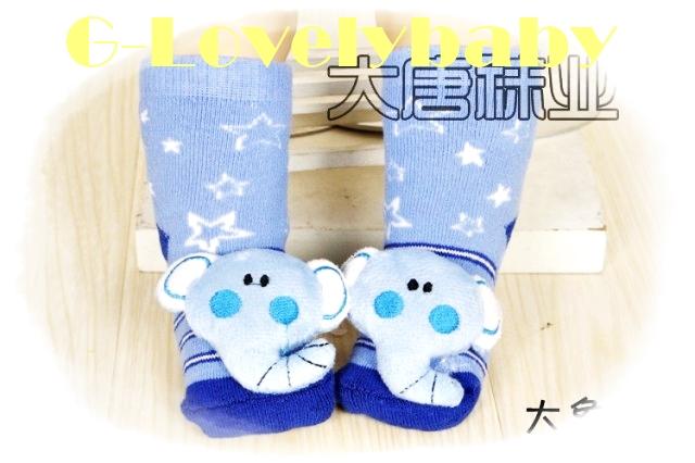 ถุงเท้าเด็ก ถุงเท้าเนื้อนุ่มพื้นกันลื่น ถุงเท้าหัวการ์ตูน 3 มิติ มีเสียงกระดิ่งเวลาเดิน สำหรับเด็กอายุ 0-2 ปี
