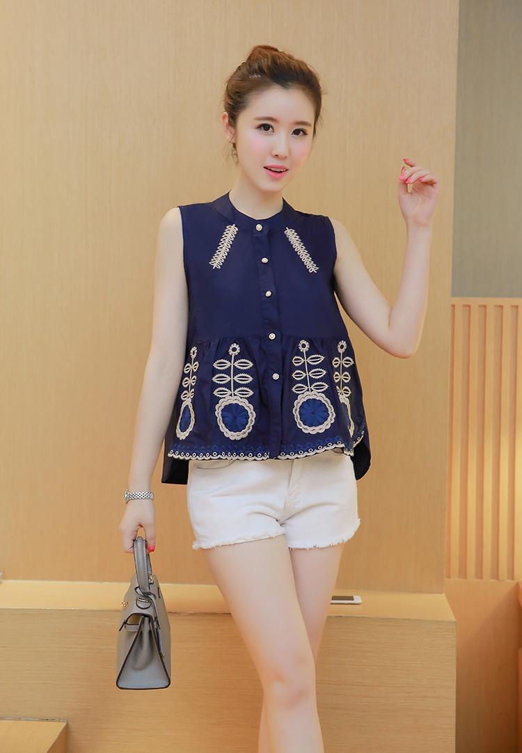 KTFN เสื้อแฟชั่นเกาหลี ผ้าฝ้ายปักลายเว้าชายด้านข้าง สีน้ำเงิน