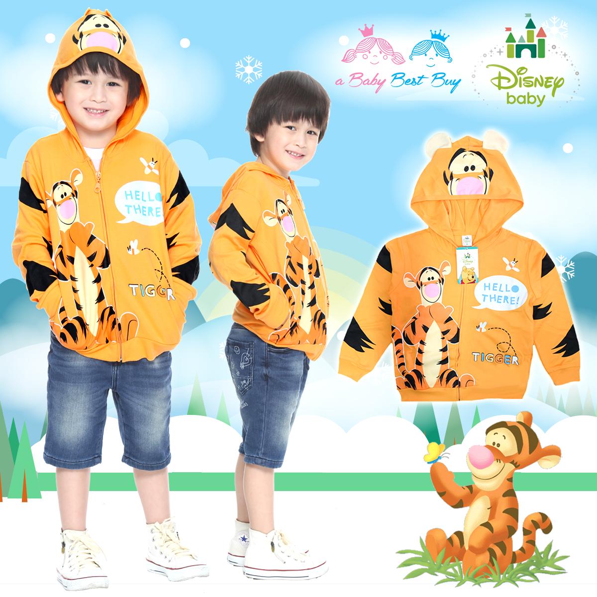 """"""" ( S-M-L """" เสื้อแจ็คเก็ต Jacket Disney Tigger เสื้อกันหนาว แขนยาว เด็กผู้ชาย & เด็กผู้หญิง สกรีนลาย ทิกเกอร์ สีส้มอ่อน รูดซิป มีหมวก(ฮู้ด)สีส้ม ใส่คลุมกันหนาว กันแดด ใส่สบาย ดิสนีย์แท้ ลิขสิทธิ์แท้ (Size S-M-L)"""