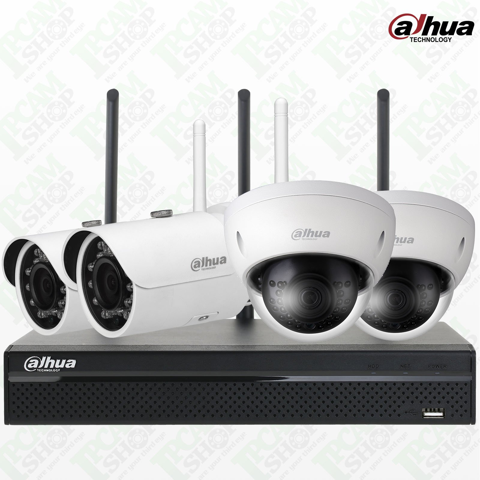 Dahua WiFi Kit NVR4104HS-W-S2, IPC-HDBW1320E-Wx2, IPC-HFW1320S-Wx2, Surveillance Hard Drives 1TB