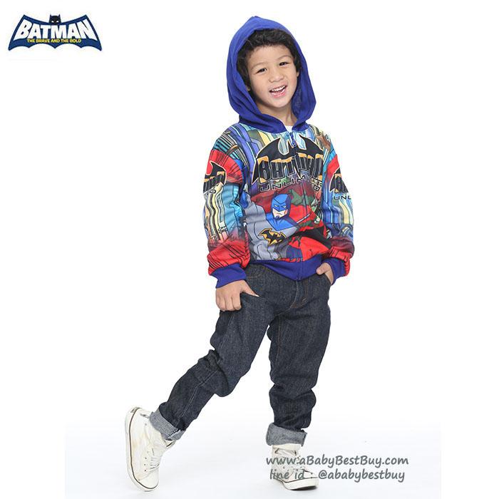 """"""" ( S-M-L-XL """" เสื้อแจ็คเก็ต BAT MAN เสื้อกันหนาว เด็กผู้ชายสกรีนลาย BAT MAN สีน้ำเงิน รูดซิป มีหมวก(ฮู้ด)สกรีนหน้า BAT MAN ใส่คลุมกันหนาว กันแดด สุดเท่ห์ ใส่สบาย ลิขสิทธิ์แท้ (ไซส์ S-M-L-XL )"""
