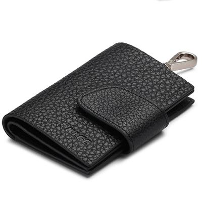 พรีออเดอร์ กระเป๋าพวงกุญแจ หนังแท้ เวอร์ชั่นเกาหลี สีดำ