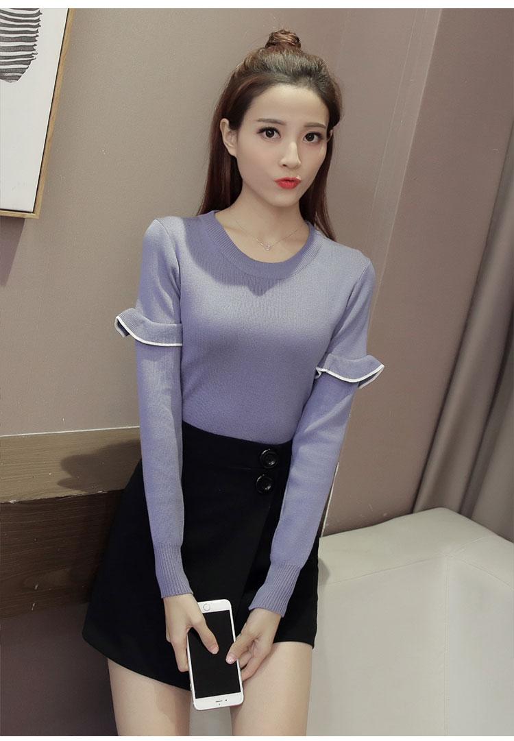 เสื้อแฟชั่นเกาหลี แขนยาวแต่งต้นแขนระบาย สีฟ้าคราม