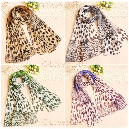 ผ้าพันคอผู้หญิง ผ้าพันคอสไตล์ญี่ปุ่น ผ้าพันคอชีฟอง ลายเสือดาว ขนาด กว้าง 50 ซม.ยาว 160 ซม.