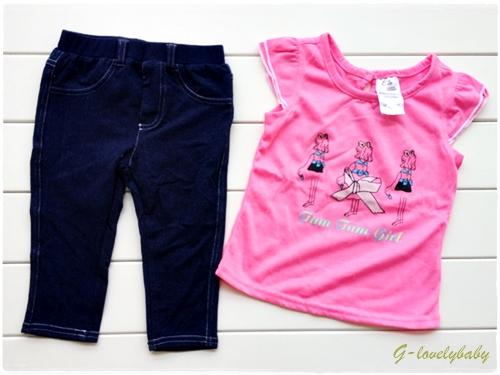 เสื้อผ้าเด็ก ชุดเด็กหญิง ชุดเสื้อและกางเกงยีนส์(ผ้าคอตตอน) Size 3T