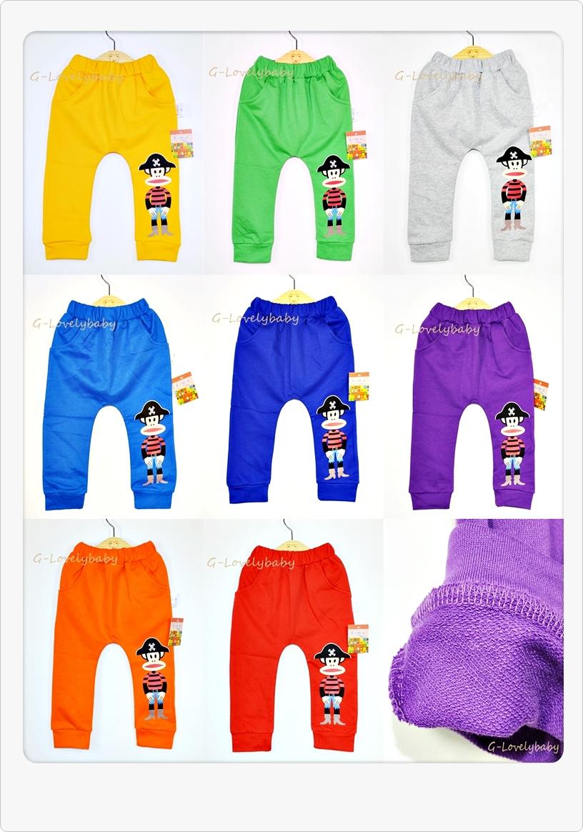 กางเกงเด็ก กางเกงขายาวเด็ก กางเกงวอร์มเด็ก กางเกงเด็กสไตล์เกาหลี แบรนด์เนมดัง กางเกงลายหน้าลิงโจรสลัด