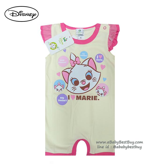 ( S-M-L ) ชุดนอนเด็ก บอดี้สูทเด็ก Disney Marie ชุดแขนสั้นสีเหลือง ดิสนีย์แท้ ลิขสิทธิ์แท้ (สำหรับเด็กอายุ 0-24 เดือน)