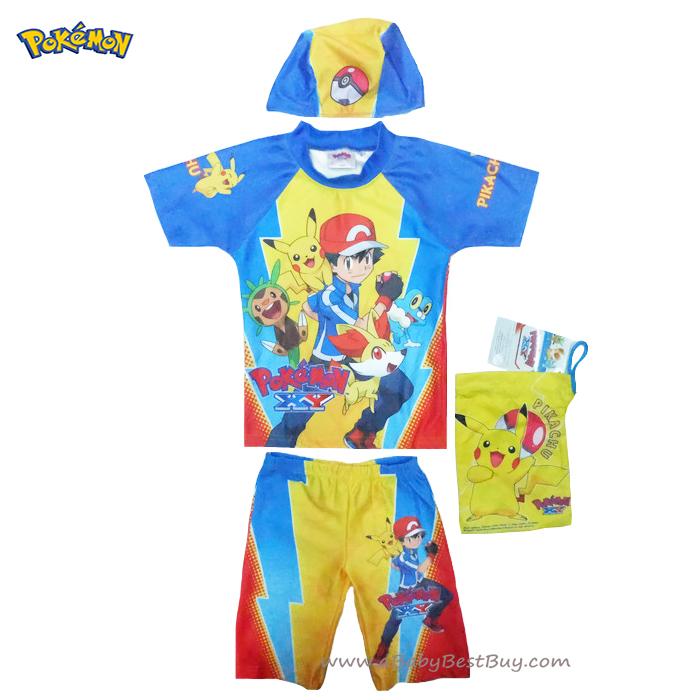ฮ Size S,M - ชุดว่ายน้ำเด็กผู้ชาย Pokemon มาพร้อมกับเสื้อแขนสั้น กางเกงขาสั้น สกรีนลาย Pokemon มาพร้อมหมวกว่ายน้ำและถุงผ้า สุดเท่ห์ ใส่สบาย ลิขสิทธิ์แท้ (สำหรับเด็กอายุ 4-7 ปี)