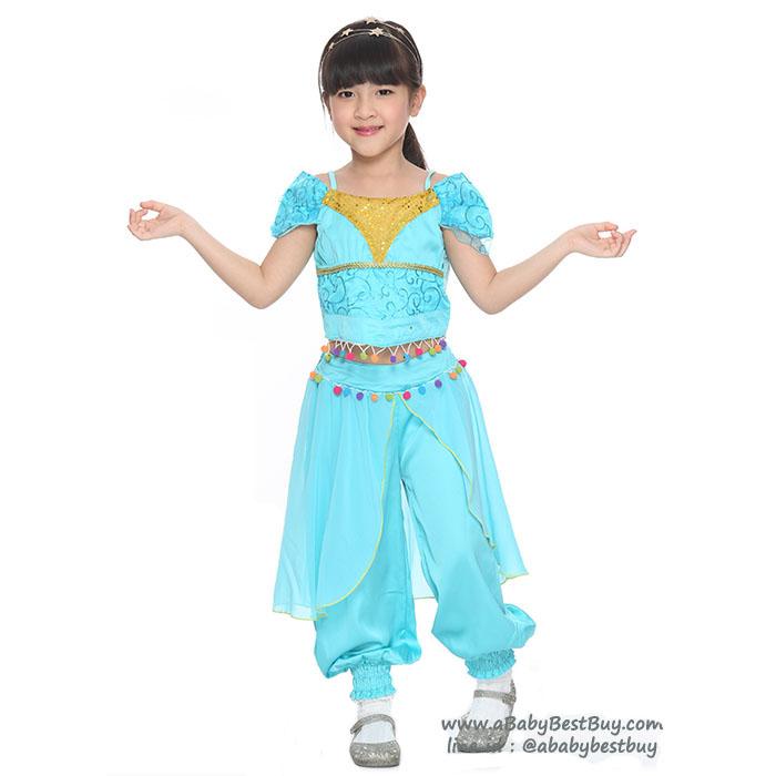 """ฮ"""" ชุดเดรส เจ้าหญิงจัสมิน ชุดแฟนซีเจ้าหญิง ผ้าดี ใส่สบาย (สำหรับเด็กอายุ 2-9 ปี)"""