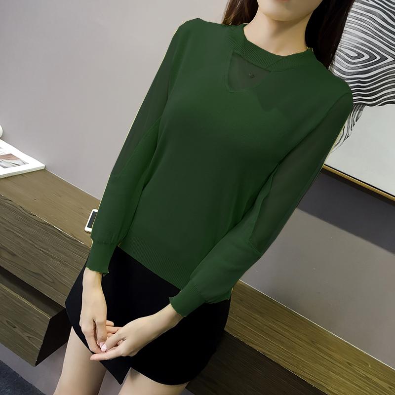 เสื้อแฟชั่นเกาหลี แต่งซีทรูคอและแขนตามภาพ สีเขียว