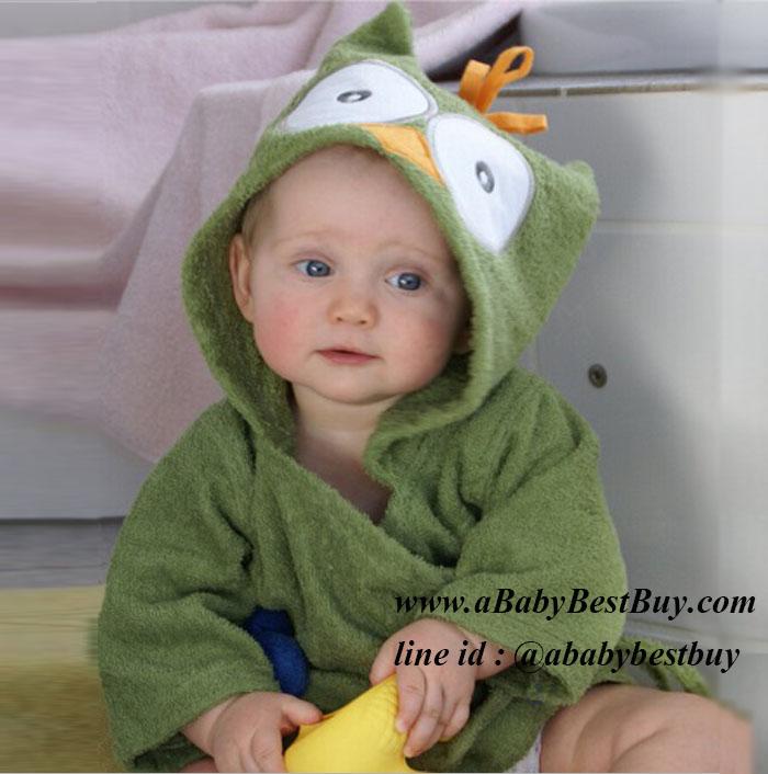 z เสื้อคลุมอาบน้ำเด็กเล็ก เสื้อคลุมว่ายน้ำเด็กเล็ก ลายนกเขียว สำหรับเด็กเล็ก ตั้งแต่แรกเกิด - 2ขวบ