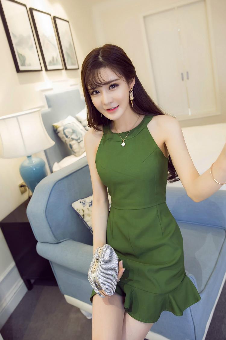 New KTFNเดรสแฟชั่นเกาหลีผ้าพิมพ์ แขนกุด ชายระบาย สีเขียว