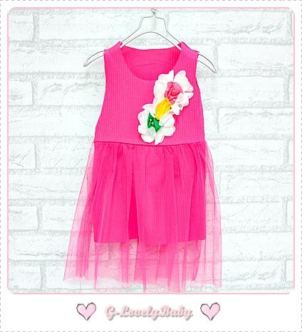 เสื้อผ้าเด็ก ชุดเดรสเด็กหญิง ชุดเด็กหญิงน่ารัก ชุดผ้าฝ้่ายสไตล์เกาหลี ดอกไม้สามสี size 8