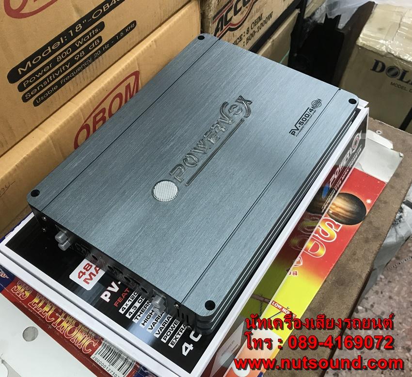 เพาเวอร์แอมป์รถยนต์ 4 CH 4800 W ยี้ห้อ POWERVOX รุ่น PV-500/4