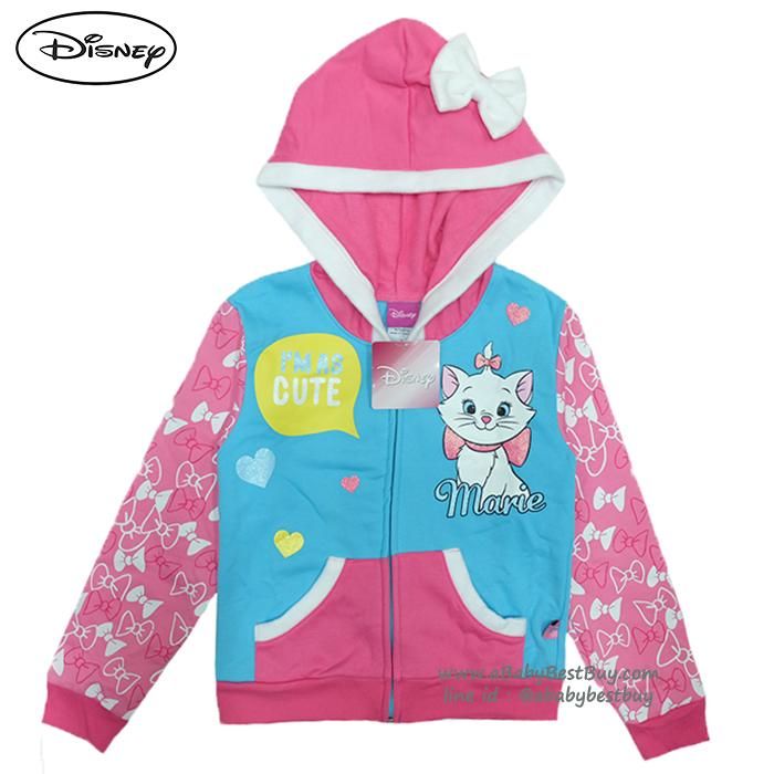 """ฮ """"( Size เด็ก 4-6-8-10-12-14 ปี ) Jacket Disney Marie เสื้อแจ็คเก็ต เสื้อกันหนาว แขนยาว เด็กผู้หญิง สกรีนลาย มารี สีฟ้า รูดซิป มีหมวก(ฮู้ด)ใส่คลุมกันหนาว กันแดด ใส่สบาย ดิสนีย์แท้ ลิขสิทธิ์แท้"""