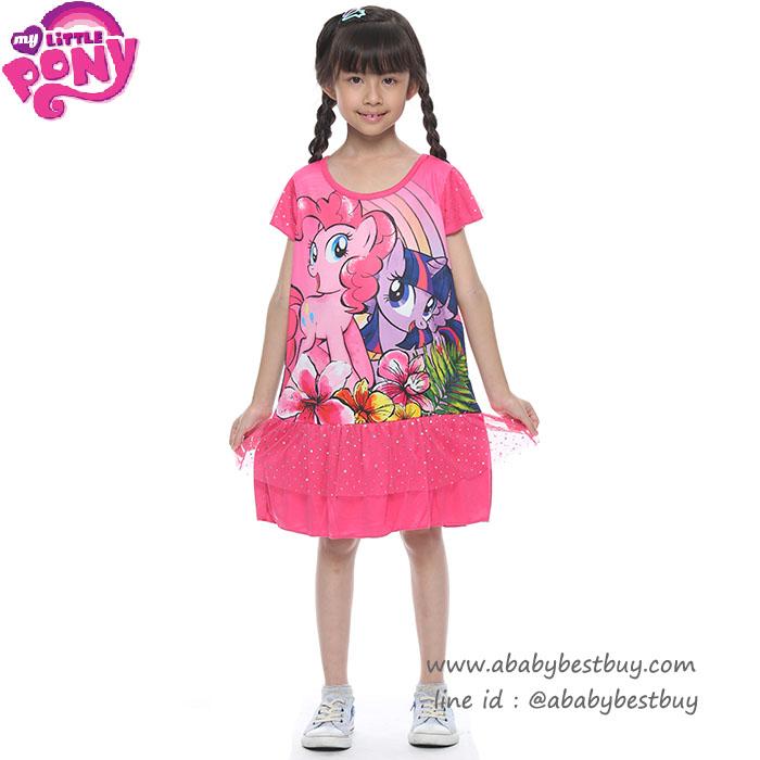 (4-6-8-10 ปี) ชุดเดรส My Little Pony สีชมพู แขนตุ๊กตา ลิขสิทธิ์ฮาสโบแท้ โพนี่แท้ (สำหรับเด็ก4-6-8-10 ปี)