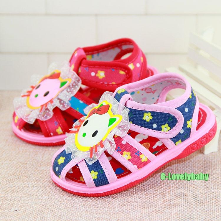 รองเท้าเด็ก เด็กหญิง รองเท้าเด็กพื้นยางกันลื่น มีเสียงปี๊บๆ รองเท้าเด็กวัยหัดเดินมีเสียงปี๊บๆเวลาเดิน ลายแมวคิตตี้ สีชมพูแดง สีชมพูน้ำเงิน