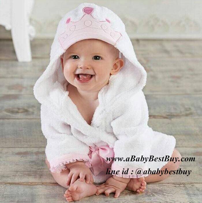 ฮ เสื้อคลุมอาบน้ำเด็กเล็ก เสื้อคลุมว่ายน้ำเด็กเล็ก ลายมงกุฎ สำหรับเด็กเล็ก ตั้งแต่แรกเกิด - 2ขวบ