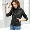Pre-Order เสื้อแจ็คเก็ตหนัง เสื้อแจ็คเก็ตผู้หญิง เข้ารูปพอดีตัว คอจีน สีดำ แต่งซิปเก๋ แฟชั่นเกาหลี
