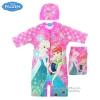 (สำหรับเด็กอายุ 6เดือน-14 ปี) Swimsuit for Girls ชุดว่ายน้ำ เด็กผู้หญิง Disney Frozen Fever ชุดบอดี้สูทซิบหน้า สีชมพู เสื้อแขนยาวกางเกง สกรีนลาย เจ้าหญิง อันนา เอลซ่า มาพร้อมหมวกว่ายน้ำและถุงผ้า สุดน่ารัก ใส่สบาย ดิสนีย์แท้ ลิขสิทธิ์แท้