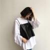 [Preorder] Set สไตล์เรโทรเสื้อยืดสีขาวแขนกว้างตัวหลวม + เสื้อกล้ามหนัง PU นิ่มสีดำ