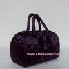กระเป๋าถือ นารายา ผ้าซาตินมัน สีม่วง ทรงหมอน ผูกโบว์ ด้านหน้า (กระเป๋านารายา กระเป๋า NaRaYa กระเป๋าผ้า)