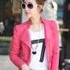 Pre-Order เสื้อแจ็คเก็ตหนัง เสื้อแจ็คเก็ตผู้หญิง เข้ารูปพอดีตัว คอจีน สีแดงชมพู แต่งซิปเก๋ มีปก แฟชั่นเกาหลี