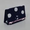 กระเป๋าเครื่องสำอางค์ นารายา Summer ผ้าคอตตอน ลายจุด พื้นน้ำเงิน จุดขาว มีกระจกในตัว Size L (กระเป๋านารายา กระเป๋าผ้า NaRaYa)