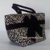 กระเป๋าถือ นารายา Size S ผ้าคอตตอน ลายเสือดาว ผูกโบว์ สีดำ สายหิ้ว หูเกลียว (กระเป๋านารายา กระเป๋าผ้า NaRaYa กระเป๋าแฟชั่น)