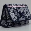 กระเป๋าเครื่องสำอางค์ นารายา ผ้าคอตตอน สีน้ำเงิน ลายดอกไม้ มีกระจกในตัว Size L (กระเป๋านารายา กระเป๋าผ้า NaRaYa)