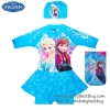 ( For Kids สำหรับเด็กอายุ 6เดือน-14 ปี ) Swimsuit for Girls ชุดว่ายน้ำ เด็กผู้หญิง Disney Frozen ชุดว่ายน้ำบอดี้สูท เสื้อแขนยาว กระโปรงกางเกงขาสั้น สีฟ้า ลาย เจ้าหญิง อันนา เจ้าหญิงเอลซ่า มาพร้อมหมวกว่ายน้ำและถุงผ้า สุดน่ารัก ใส่สบาย ชุดว่ายน้ำเด็กผู้หญิง