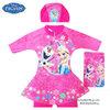 ( สำหรับเด็กอายุ 6เดือน-14 ปี ) Swimsuit for Girls ชุดว่ายน้ำ เด็กผู้หญิง Disney Frozen บอดี้สูทเสื้อแขนยาว กระโปรงกางเกงขาสั้น สีชมพู สกรีนลาย เจ้าหญิงเอลซ่า+โอลาฟ มาพร้อมหมวกว่ายน้ำและถุงผ้า สุดน่ารัก ใส่สบาย ดิสนีย์แท้ ลิขสิทธิ์แท้
