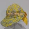 หมวก ผ้าคัตตอน นารายา ทรงปีกกว้าง สีเหลือง ลายหยดน้ำ ( กระเป๋าผ้า นารายา NaRaYa )