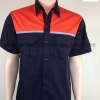 รหัส 1.16 (เสื้อช็อป ผ้าคอม แบบกรมอกส้มกุ้นเทา/แบบดำอกส้มกุ้นเทา )
